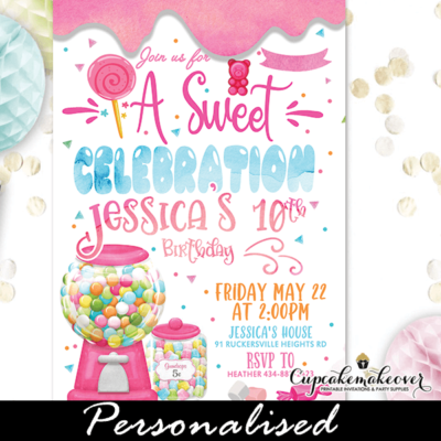Gumball Machine Candyland Invitations Sweet Shop birthday