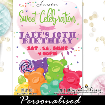Gummy Bears Candy Sweet Shoppe Invitations