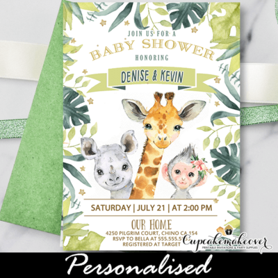 Jungle Animals Safari Invitation Baby Shower