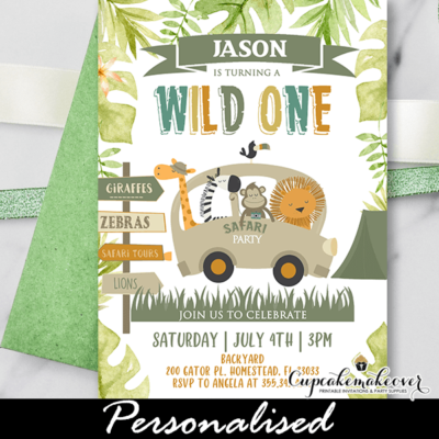 Jungle Birthday Invitations Wild One Boy