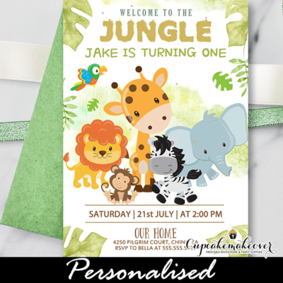 Jungle Birthday Invite Safari Theme Boy