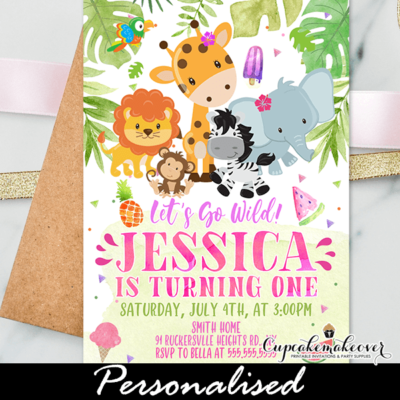Jungle Theme Birthday Invitations, Safari Wild One Pink Girl