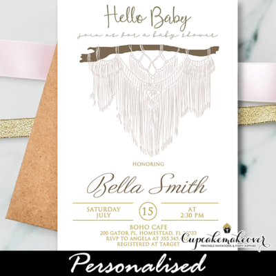 Macrame Boho Baby Shower Invites