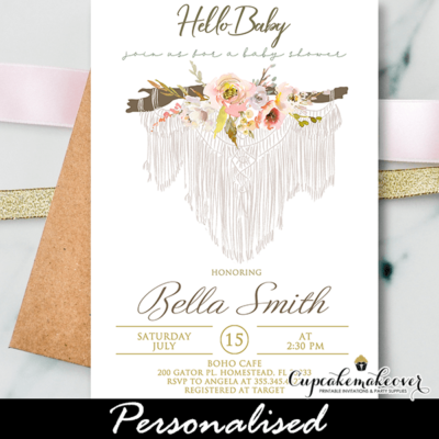 macrame floral boho baby shower invites girl theme