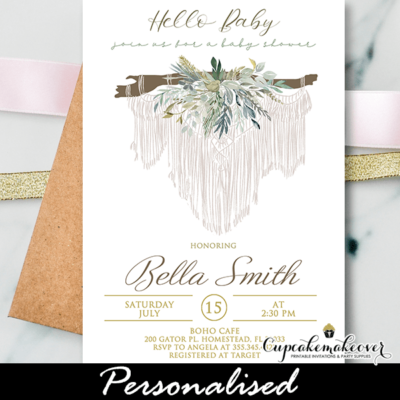 Macrame Greenery Boho Baby Shower Invites gender neutral