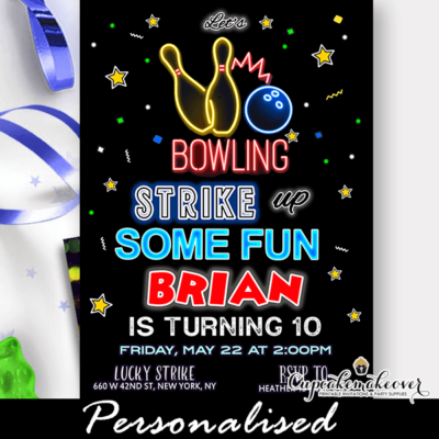 neon red bowling party invitations boy birthday theme kids