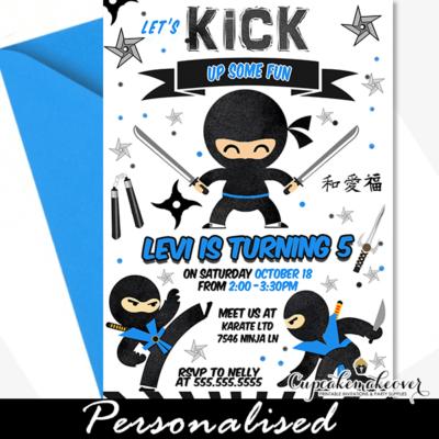 Ninja Birthday Party Invites, Black Blue Martial Arts Warrior ideas