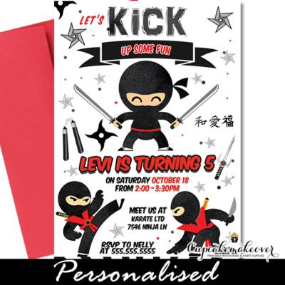 Ninja Birthday Party Invites, Red Black Martial Arts Warrior