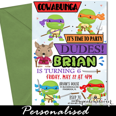 Ninja Turtle Invites, TMNT Kids warrior party