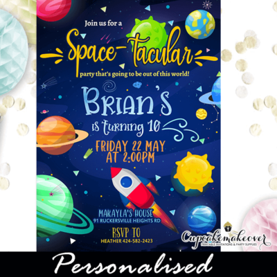 Outer Space Galaxy Birthday Invites Solar System Party boy theme ideas