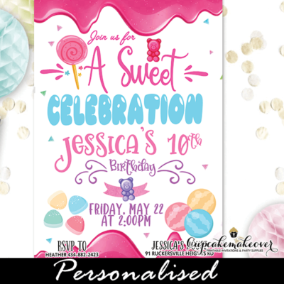pastel sweet candyland birthday invitation