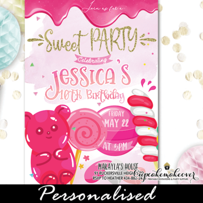 pink candies sweet shop birthday candyland invitations