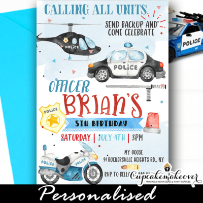 police party invitation policeman birthday theme boy ideas