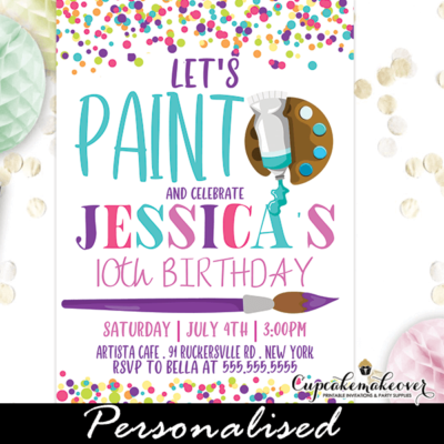 rainbow confetti paint party invites art birthday