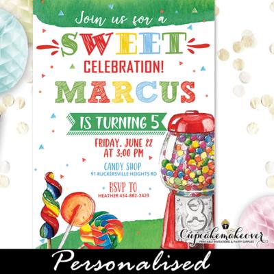 Rainbow Sweets Candyland Invitations Sweet Shoppe Birthday boy theme candies