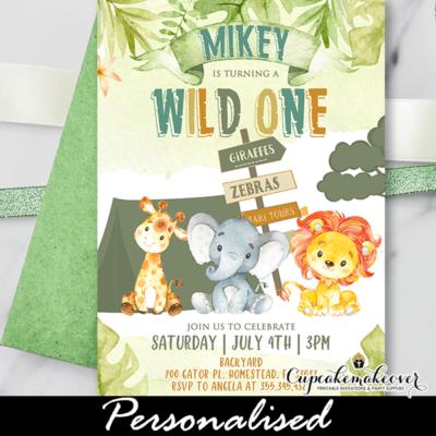 Safari Birthday Invitations Jungle Theme Party wild one two boy