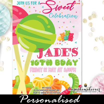 Sweets Candyland Party Invitations Lollipops Jelly Beans