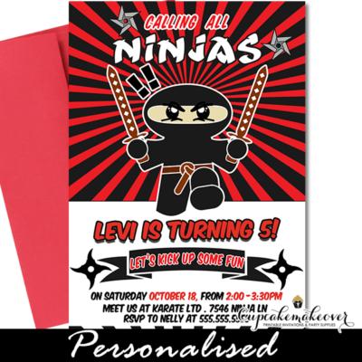 Sword Master Ninja Birthday Invitations