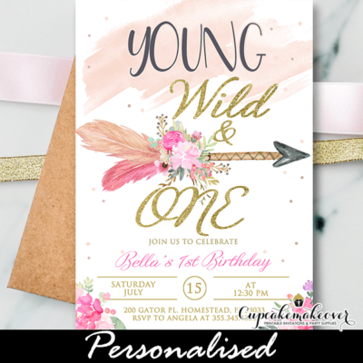 Tribal Arrow Wild One Birthday Invitations Girl pink gold
