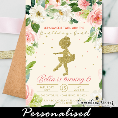tutu birthday invitations floral baby ballerina dancer pink gold