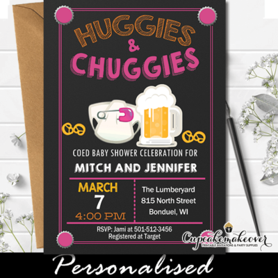 Huggies and Chuggies Invites, Pink Diapers and Beer Baby Shower