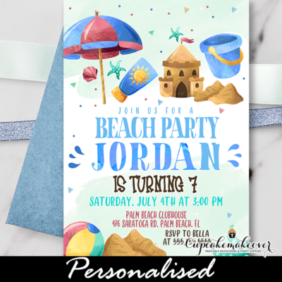 Beach Birthday Invitations Boy Summer Party