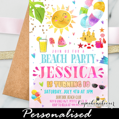Beach Birthday Invitations Girl Summer Party