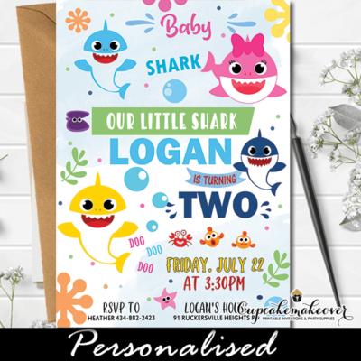 Boy Baby Shark Birthday Invites