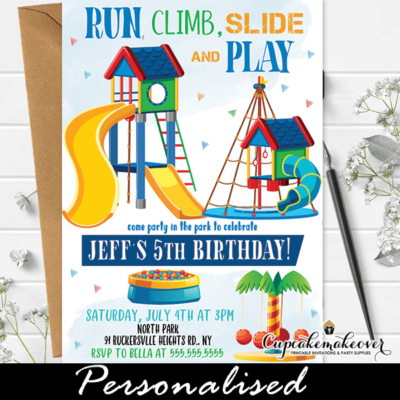 Boy Party In the Park Birthday Invitations