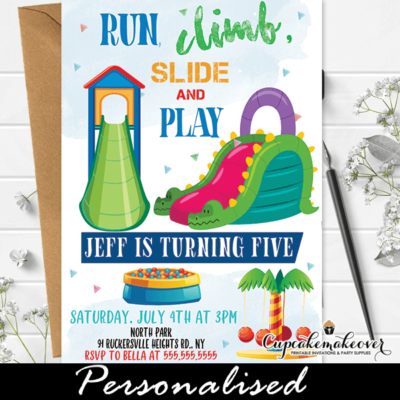 Boy Playground Birthday Party Invitations