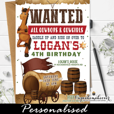 Cowboy Birthday Invites Wild West Party