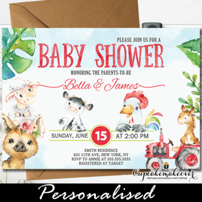 Farm Animals Baby Shower Invitations, Red Tractor