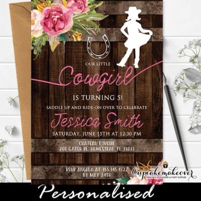 Floral Pink Cowgirl Birthday Invites Rustic Barrel Wood