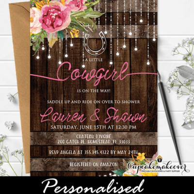Floral Pink Western Baby Shower Invitations Rustic Barrel Wood