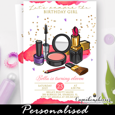 Girl Makeup Birthday Pamper Party Invite
