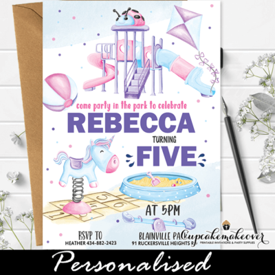 Girl Party In the Park Birthday Invitations