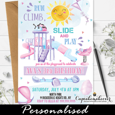 Girl Playground Birthday Party Invitations
