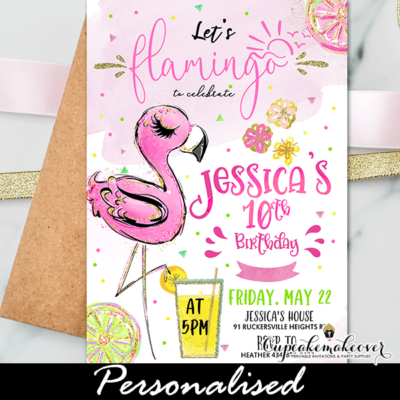 Gold Pink Lemonade Flamingo Birthday Invites tropical theme ideas