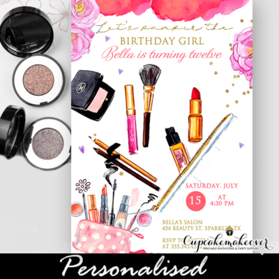 Makeup Party Invitations, Glam Pamper Day Birthday
