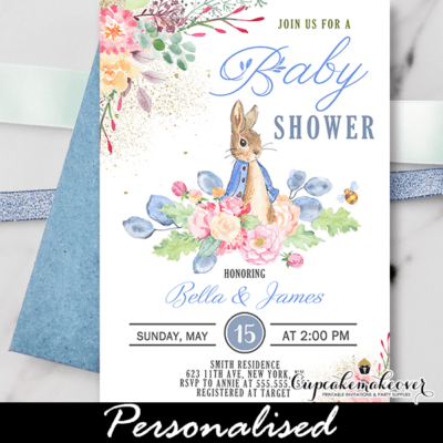 Peter Rabbit Baby Shower Invites boy theme