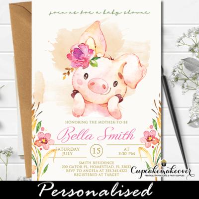Piggy Baby Shower Invitations