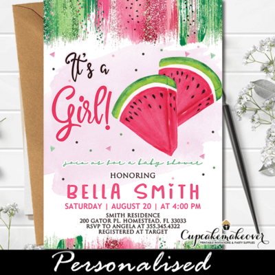 Pink Green Girl Watermelon Baby Shower Invitations