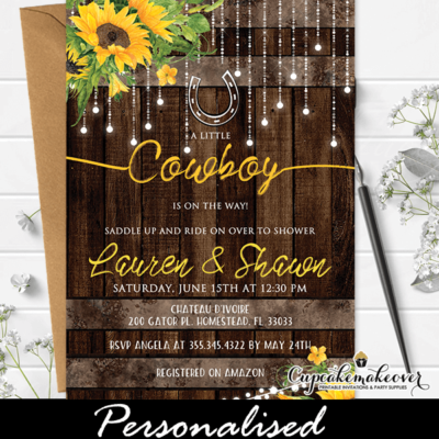 Sunflowers Western Baby Shower Invitations Rustic Barrel Wood