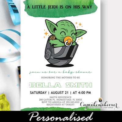 Baby Yoda Baby Shower Invitations star wars theme