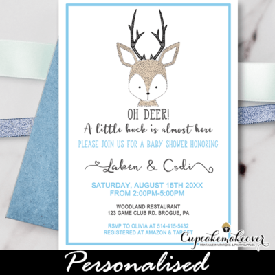 oh deer baby shower invitations woodland theme boys blue gray