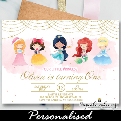 Adorable Princess Birthday Invites, Pink Gold invitation ideas
