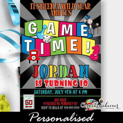 Board Game Party Invite, Family Night birthday ideas