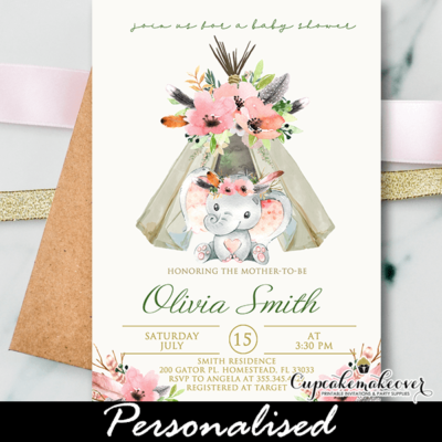Boho Floral Pink Elephant Baby Shower Invites girl theme