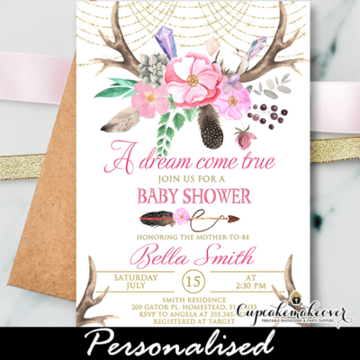 Boho Pink Floral Deer Antler Baby Shower Invitations