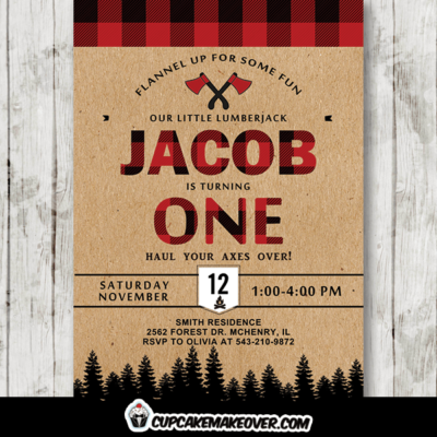 Buffalo Plaid Lumberjack Birthday Invites